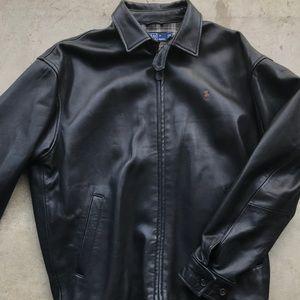 Polo Ralph Lauren leather Harrington jacket black